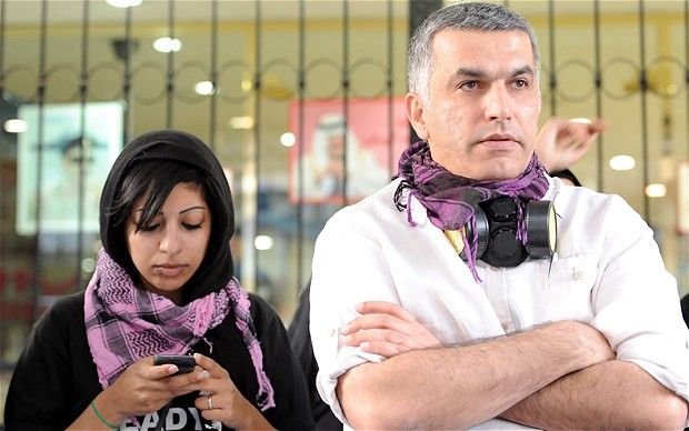 Human rights activists Nabeel Rajab and Zainab Al-Khawaja - Photo EPA