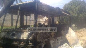 صورة من أحداث أعمال التخريب بقرية بني أحمد في المنيا